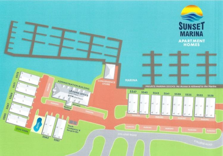 Sunset Marina Apartments property map