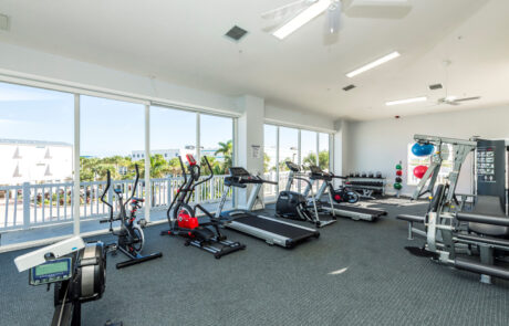 Full fitness room with machines and weights. Whole wall windows looking outside onto property. Opens larger image in a gallery.