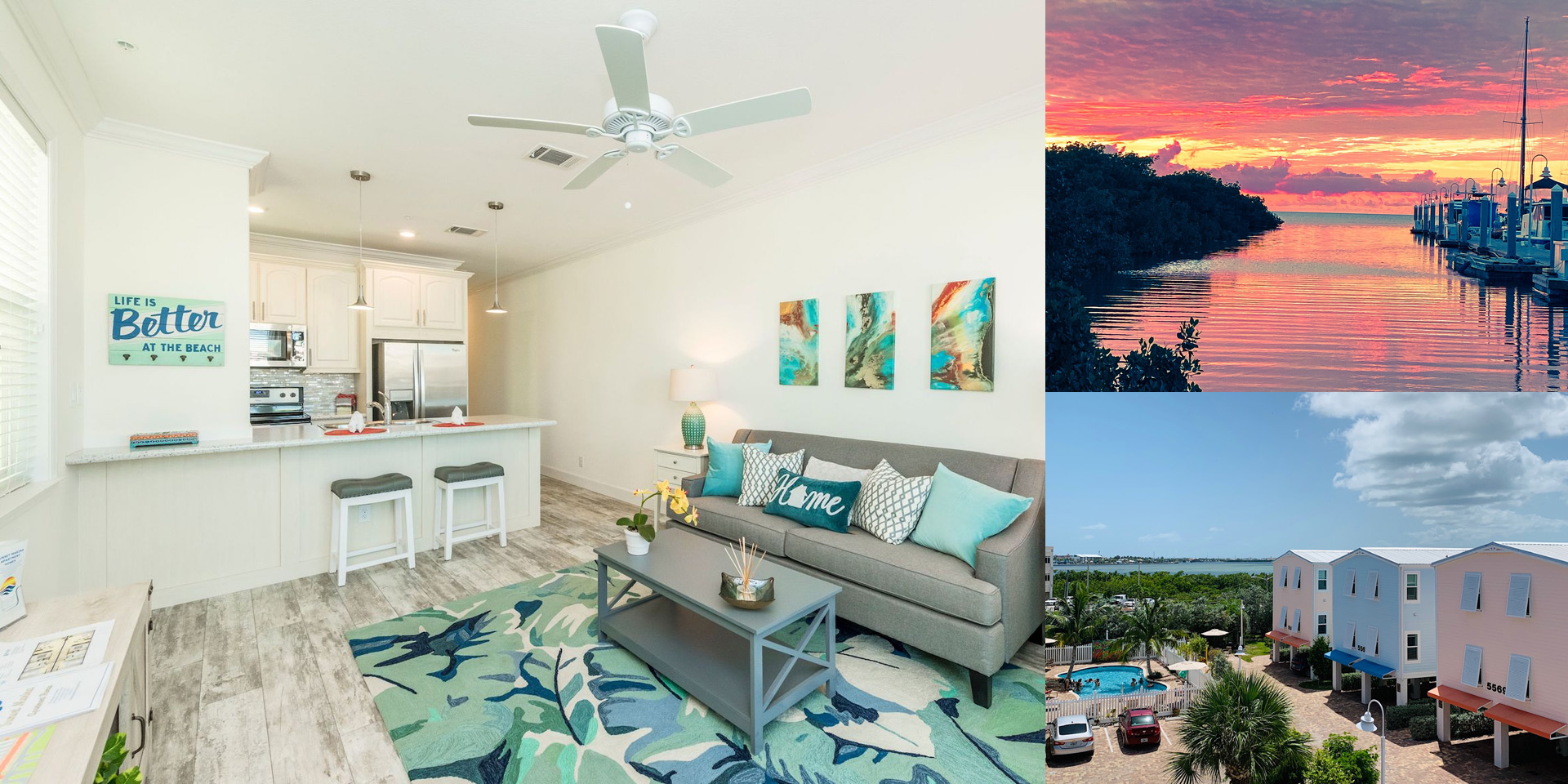 Three image collage. Open concept naturally lit apartment, waterfront sunset sky and aerial view of caribbean color building and pool.